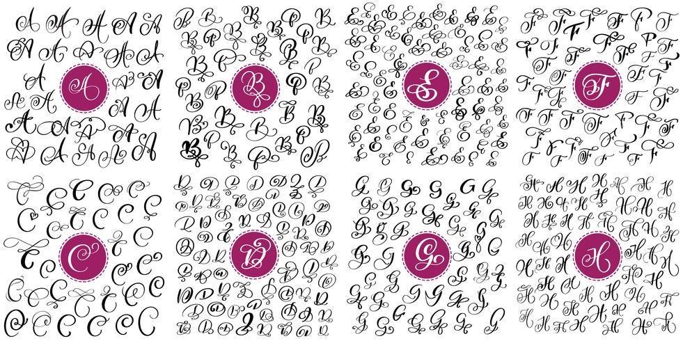 Sats med handtecknade vektor kalligrafi bokstäver A, B, C, D, E, F, G, H