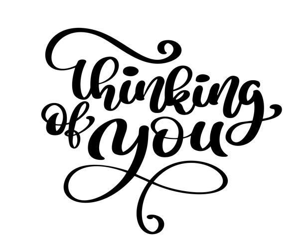 Vector kalligrafie Het denken aan u Hand getrokken tekstuitdrukking