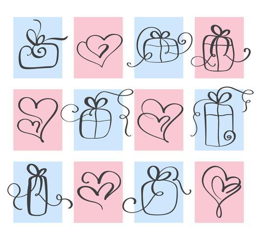 Set Love Vector Valentins dag hjärta och gåva