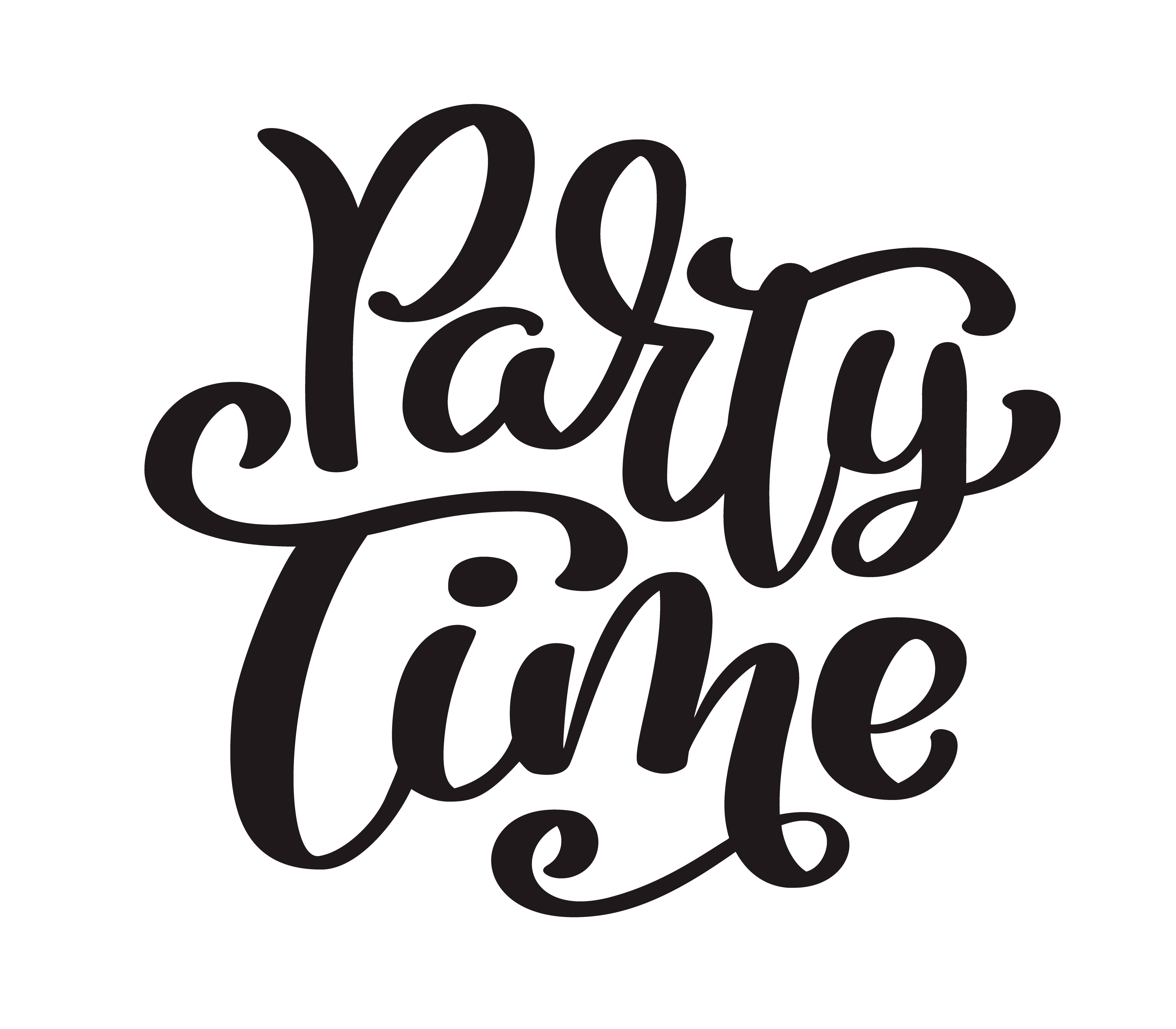 hand drawn text party time card  summer lettering  ink