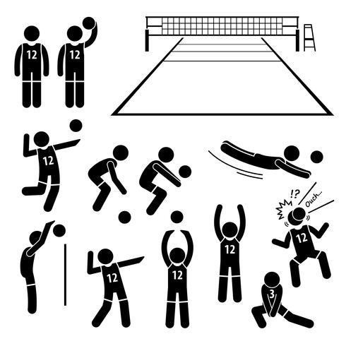 Acciones del jugador de voleibol Poses Posturas Figura Stick Pictograma iconos.