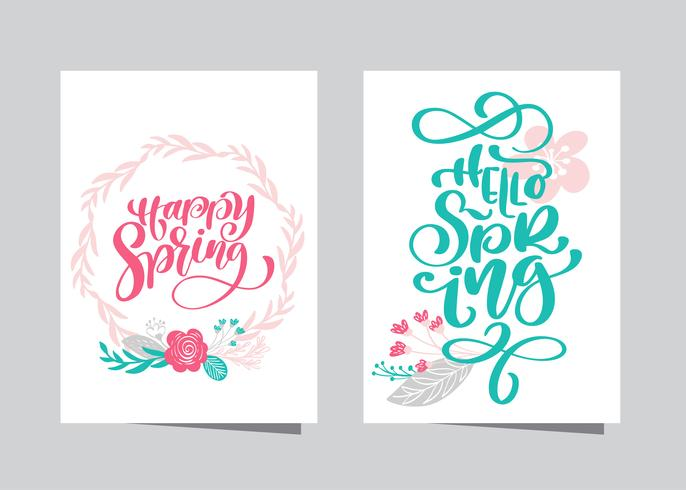 Dibujado a mano letras feliz primavera y Hola primavera vector