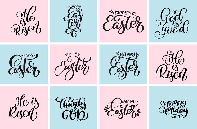 Fije la cita feliz Pascua, él es Risen frase tipográfica del vector de los diseños tipográficos. Dibujado a mano plantillas de diseño de texto caligráfico cristiano