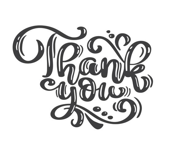 Thank You vintage text handwritten inscription. Quote Hand drawn lettering. Thank You calligraphy. Thank you card. Vector illustration