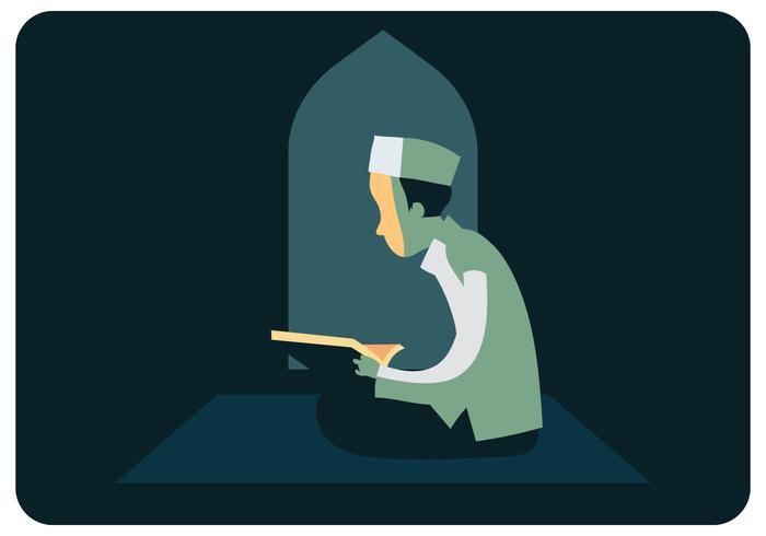 Rapaz muçulmano ler vetor de Al-Qur'an