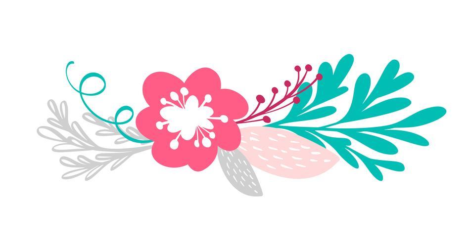 Ramo de flores y elementos florales.