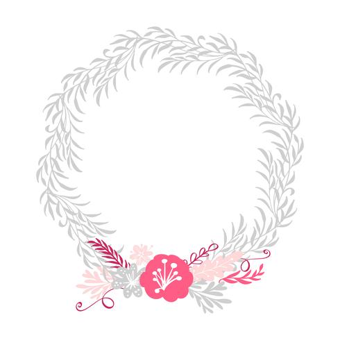 floral wreath bouquet flowers Botanical elements isolated on white background in Scandinavian style. Hand drawn vector illustration