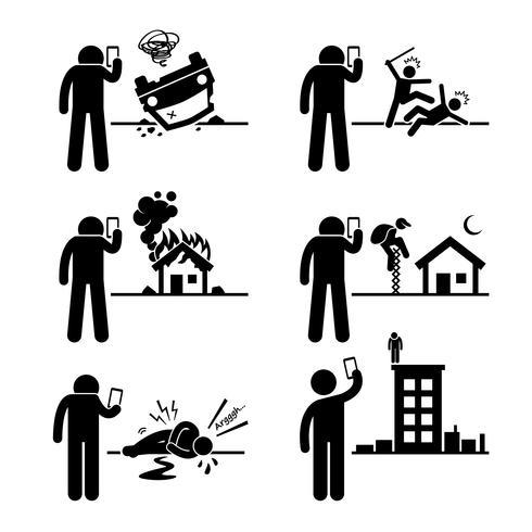 Använda telefonkamera för att ta och spela in video Bild på Incident Stick Figur Pictogram Ikoner.