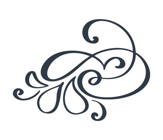 Floreciente decoración en forma de remolino para estilo de caligrafía de tinta de pluma puntiaguda. La pluma de la pluma florece. Para caligrafía, diseño gráfico, postal, menú, invitación de boda, estilo romántico.
