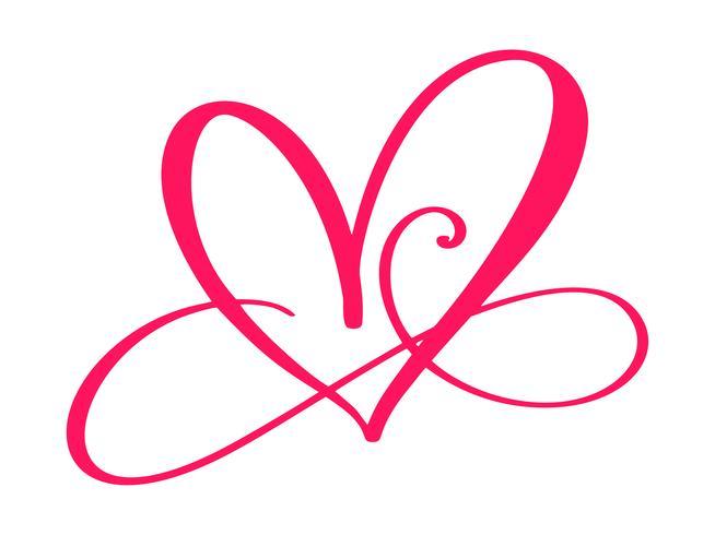 Segno di amore del cuore per sempre. Infinito simbolo romantico collegato, unire, passione e matrimonio. Modello per maglietta, carta, poster. Design piatto elemento del giorno di San Valentino. Illustrazione vettoriale