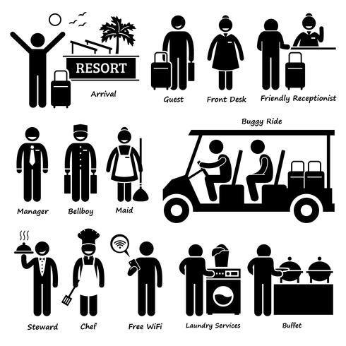 Resort Villa Hotel Tourist Worker and Services Stick Figure Pictogram Icons. vector