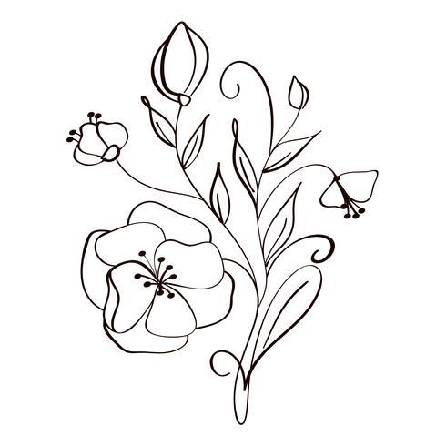 flores modernas, desenho e desenho floral com linha-arte isolado no fundo branco