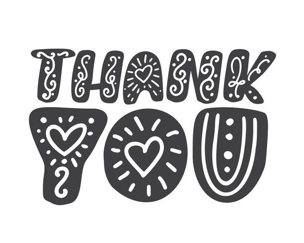 Merci inscription manuscrite scandinave. Lettrage dessiné à la main. Merci calligraphie. Carte de remerciement. Illustration vectorielle isolée sur fond blanc