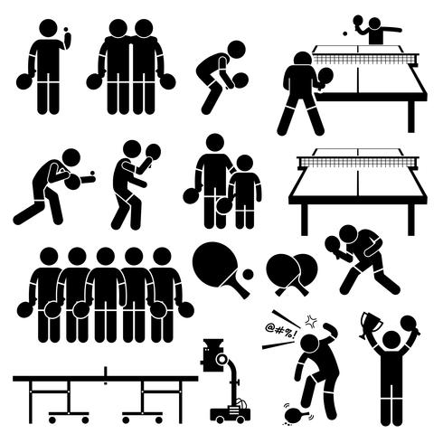 Table Tennis Player Actions Poses Stick Figure Pictogram Icons. vector