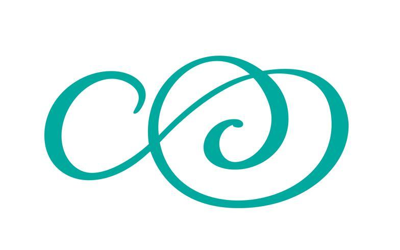 O símbolo tirado mão dos elementos da caligrafia do separador do flourish da mão do vintage ligou, junta-se, paixão e casamento. Modelo para t-shirt, cartão, cartaz. Elemento plano de design do dia dos namorados. Ilustração vetorial
