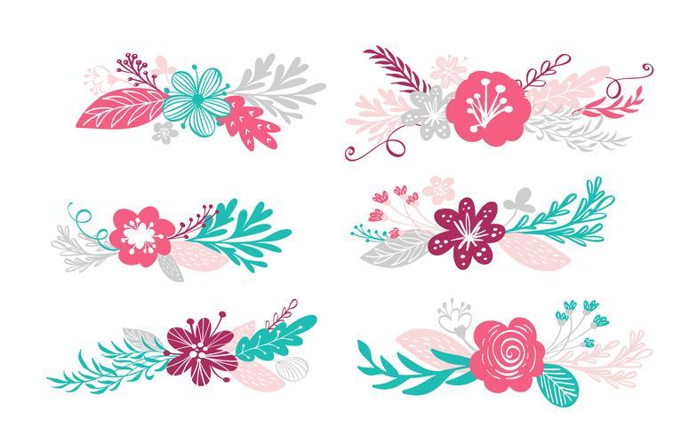 zes boeketbloemen en bloemenelementen