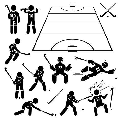 Feldhockeyspieler-Aktionen stellen Strichmännchen-Piktogramme.