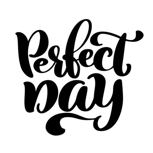 Hand drawn lettering quote perfect day. Modern calligraphy text for photo overlay, cards, t-shirts, posters, mugs Isolated on white vector illustration