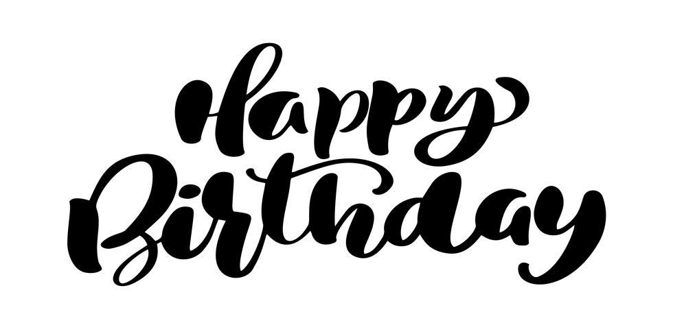 Feliz cumpleaños mano dibujada frase de texto