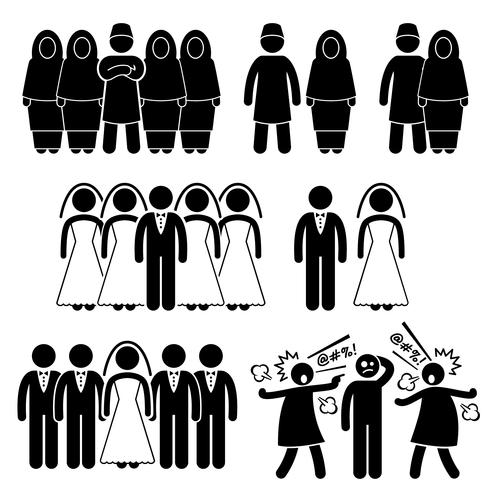 Poligamia Matrimonio Esposa Múltiple Marido Stick Figure Pictogram Icons.