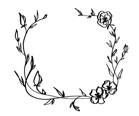 Lavendel bloemen decoratieve krans geïsoleerd op witte achtergrond, ronde frame hand getrokken doodle vector schets kruiden lijn kunst grafische vormgeving voor wenskaart, uitnodiging, bruiloft ontwerp, cosmetische