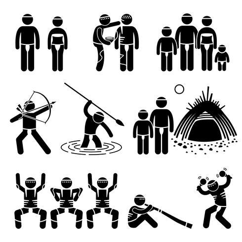 Stammes-Eingeborener eingeborene Ureinwohner-Kultur und Tradition Strichmännchen-Piktogramm-Ikonen.