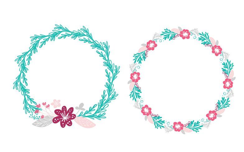 two floral wreath bouquet flowers  vector