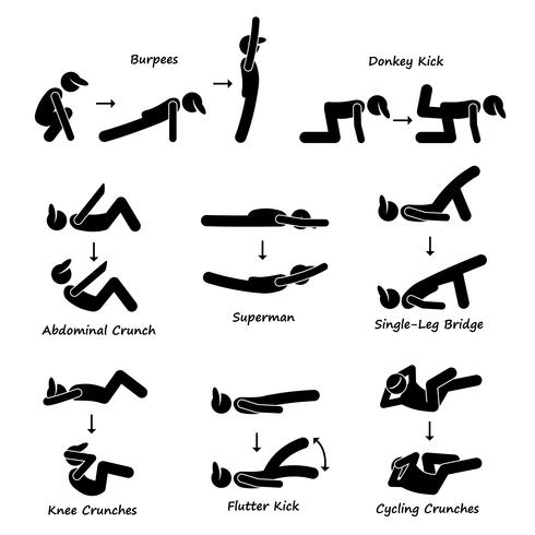 Body Workout Exercise Fitness Training (Set 3) Stick Figure Ícones Do Pictograma.