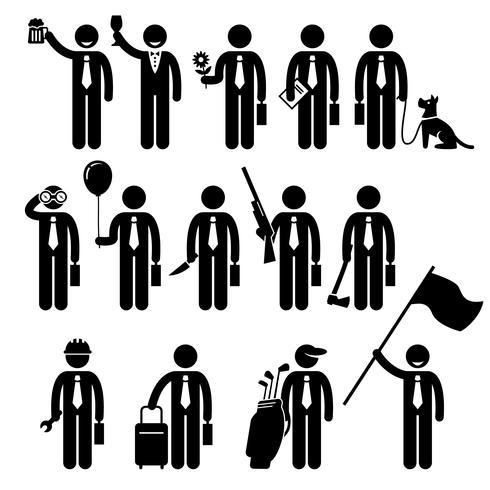 Icono de hombre de negocios hombre sosteniendo objetos hombre Stick figura pictograma.