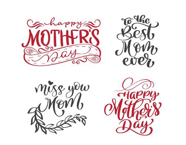 Happy Mothers Day Set Handgezeichnete Zitate Schriftzug