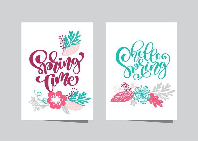 Dibujado a mano letras tiempo de primavera vector
