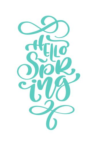 Calligraphy quote hello spring vector