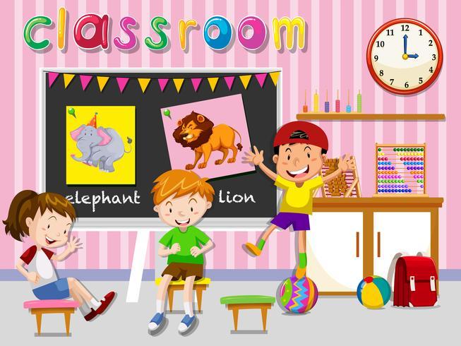 I bambini si divertono in classe