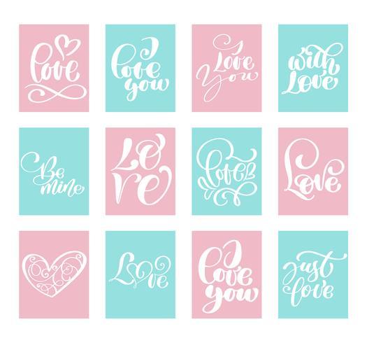 Big Set Love Vector Modelli di carte di San Valentino