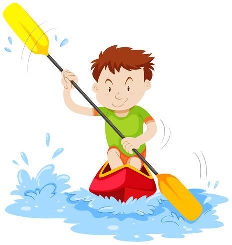 Mann, der auf dem Fluss Kayak fährt