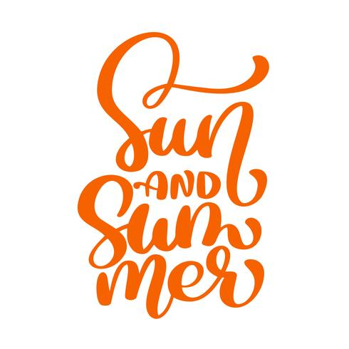 Zon en zomer belettering vector logo illusrtation