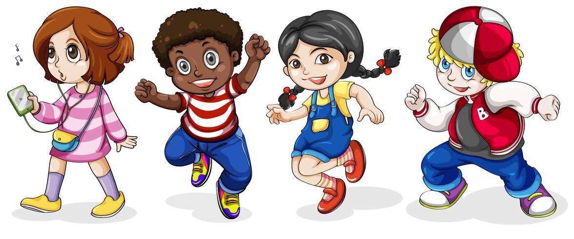 Crianças negras e caucasianas