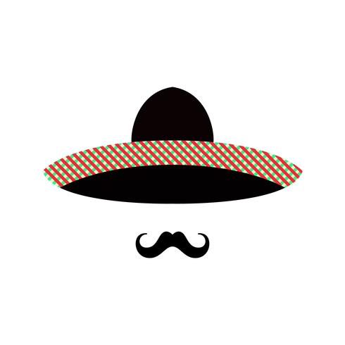 Faccia uomo messicano con sombrero e baffi.