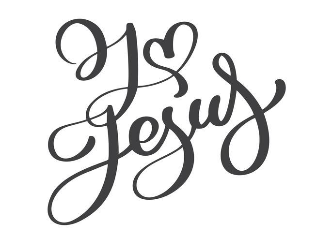 Mão desenhada Eu amo a rotulação de Jesus vetor