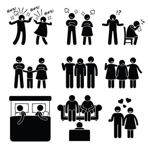 Marriage Family Problem Casal Marido Esposa com Conselheiro. Marido e mulher estão tendo problemas familiares. vetor