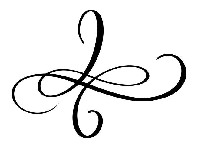 Handgezeichnete Liebe Grenze Flourish Separator Kalligraphie-Designer-Elemente. Vektorweinlesehochzeitsillustration lokalisiert auf weißem Hintergrund vektor