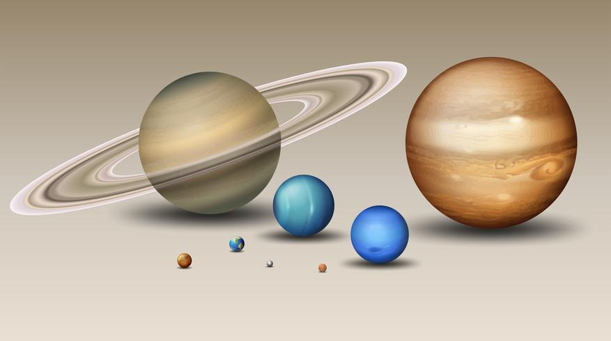 Set of solar system element vector