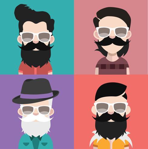 Conjunto de iconos de personas con caras vector