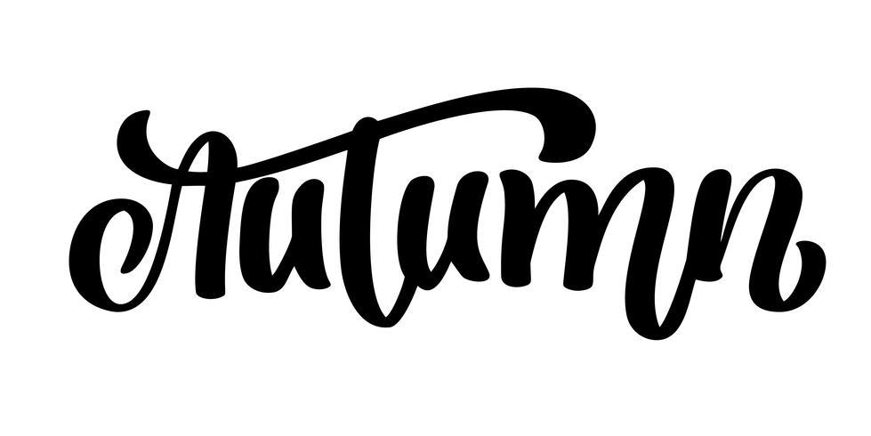 Lettrage calligraphique d'automne vecteur