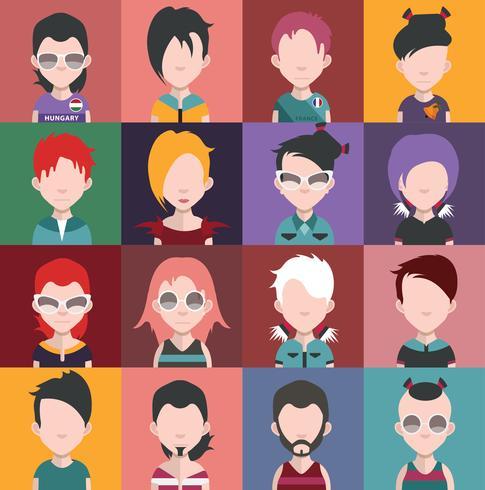 Ensemble d'icônes de personnes avec des visages vecteur