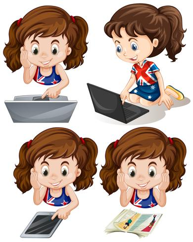 Girl using computer and tablet