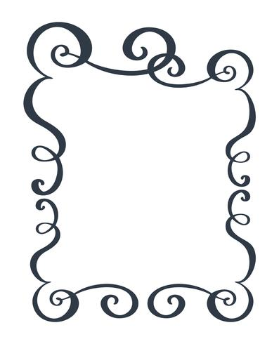 Dekorative Rahmen und Rand Standard Rechteck Hand gezeichnet blühen Separator Kalligraphie Designer-Elemente. Vektorweinlesehochzeitsillustration lokalisiert auf weißem Hintergrund