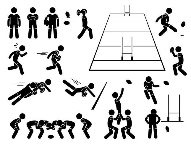 Rugby Speler Acties Stelt Stick Figure Pictogram Pictogrammen. vector