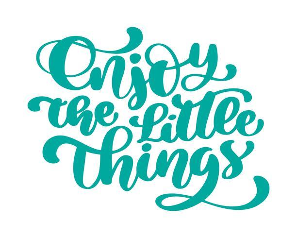 Aproveite as pequenas coisas Mão desenhada texto