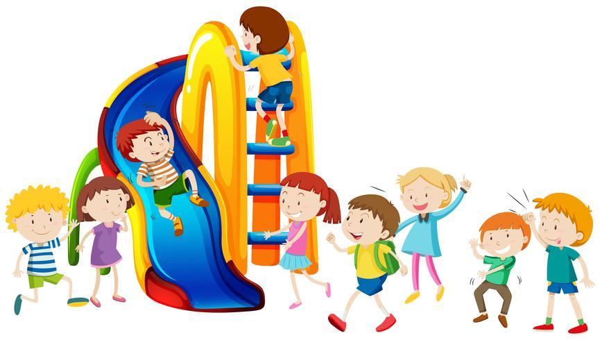 Niños y niñas jugando en la diapositiva vector
